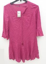Women's TU Dress Summer Embroidered Pink Viscose Sleeves Casual Size 12