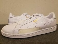 PUMA Match Tennis White Premium Leather Size 7. Men's White / Gold /Green
