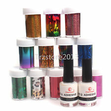 12 Color Transfer Foil Sticker DIY Nail Art Set Nail Art Tips 2 x Glue Adhesive