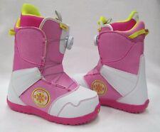 "JR GIRLS BURTON ""ZIPLINE BOA"" SNOWBOARD BOOTS (WHITE/PINK) SIZE: 5"