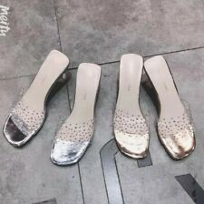 Women Middle Cone Heel Slip On Rhinestone Slippers Loafer Transparent Shoes B