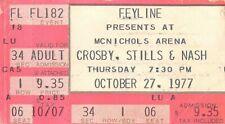 Vintage Crosby Stills Nash Concert Ticket Stub October 27, 1977 Denver McNichols