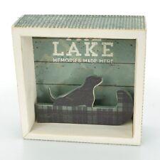 THREE GIRLS & A WISH Decorative WOOD BOX THE LAKE Memories Made Here DOG CANOE