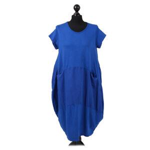 Lagenlook Short Sleeved Cotton Balloon Dress Royal Blue from Timeless Season