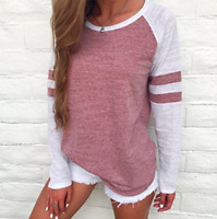 Fashion Women Long Sleeve Stripe T-shirt Round Neck Blouse Casual Loose Tops HOT