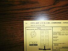 1975 Jeep Eight Series Models 401 Ci V8 4Bbl Tune Up Chart