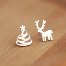 Boucles d'oreilles de Noël Renne et Sapin en argent 925
