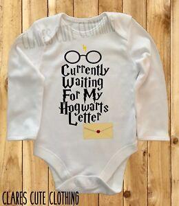 HARRY POTTER WAITING FOR MY HOGWARTS LETTER BABY VEST/ GROW  BODYSUIT ROMPER