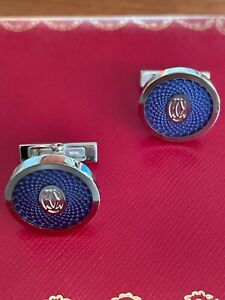 Cartier Guilloché double C logo motif cufflinks. Used just once