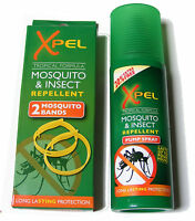 2 MOSQUITO BANDS & 120ML MOSQUITO & INSECT REPELLENT SPRAY PUMP - 4HR PROTECTION