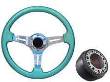 Mint Green Chrome TS Steering Wheel + Boss Kit for VAUXHALL OPEL VIVARO 062