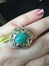 Russian Amazonite (Ovl 5.55 Ct), Hebei Peridot Ring in 14K YG and Platinum Overl