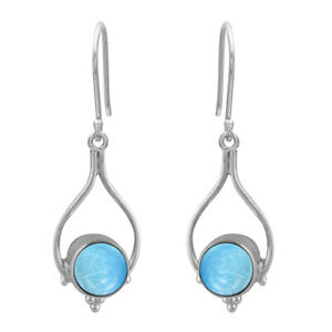 Celtic Round Larimar 925 Sterling Silver Valentine's Earring Jewelry