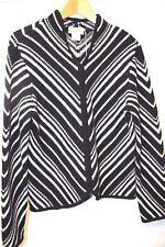 Talbots Womens Zipper Cardigan Wool Sweater Black White Chevron Stripe M 8 10