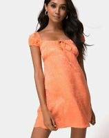 MOTEL ROCKS Gaval Mini Dress in Satin Cheetah Coral  Medium M  (mr65)
