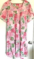 Womens Muu Muu E&K Hawaii, Tropical Dress Housecoat, Pocket, Tulip Sleeves XL