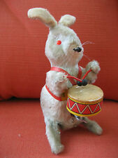 Vintage~Wind-up Rabbit Bunny~Plays Drums-Works!