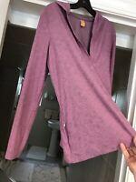 Lucy Women's Top Hoodie Long Sleeve Stretch Pink Zip Pocket Sz L