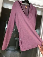 Lucy Women's Sweatshirt Top Hoodie Long Sleeve Stretch Pink Zip Pocket Sz L