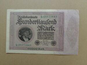 Banknote German 100,000 Mark weimar banknote 1923 Large Banknote