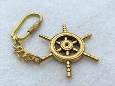 Brass Ship Wheel Keychain - Necklace Pendant Charm - Nautical Captain Pirate