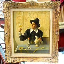 Franz Xavier Wolfe The Wine Taster Original Art Antique Oil on Mahogany Panel