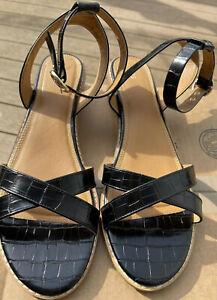 Long Tall Sally CROSS FRONT HEELED SANDAL Black US 13 Flat Style Summer