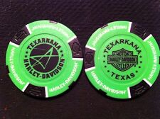 "Harley Davidson Poker Chip (NEON Green & Black) Texarkana"" Texas NEW DEALER"