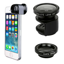 For Apple iPhone 3 in1 Clip-on Black Fish Eye Wide Angle Macro Lens Camera Kit