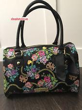 NWT Betsey Johnson Rare bow Dangles Flowers Bows Black Bag Purse Handbag