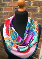 100% twill silk scarf, 60cmx60cm.Colourful floral design.Free wrapping available