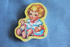 Vintage  Wooden Up-Cycled Upcycled Brooch Pin BABY DOLL  Jigsaw