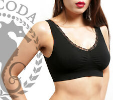 Sodacoda Padded Comfort Seamless Top Sports Bra with LACE Removable Soft Pads