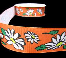 "2 Yards Daisy Flowers Daisies Grosgrain Ribbon 1 1/2""W"