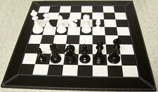 """Chess Set with Leatherette Board and wood Staunton style pieces 4 1/2"""" kings NIB"""