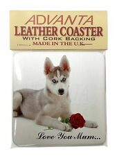 Husky with Red Rose 'Love You Mum' Single Leather Photo Coaster An, AD-H54RlymSC