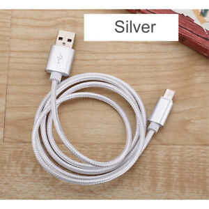 Fast Charging USB Type C Cell Phone Charger Cable Nylon Braided 1m 2m 2A Silver