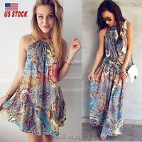 Women's Vintage Boho Maxi Long / Mini Dress Summer Beach Party Halter Sundress