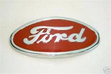 FORD 8N TRACTOR CHROME RED BACKGROUND HOOD EMBLEM REPLACES # 8N16600A