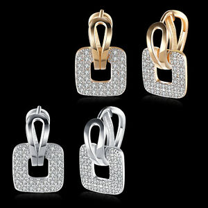 Elegant Huggie Earrings Cubic Zirconia Gold or Platinum plated Casual or Party