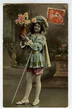 c 1908 European Glamor COSTUME BEAUTY with flowers postcard