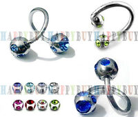 16G 13 Color Crystal Twist Ear Navel Belly Eyebrow Lip Bar Ring Spiral Helix UK