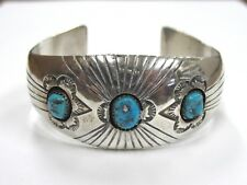 Vintage P. Benally Signed Sterling Silver Cuff Bracelet w/ 3 Turquoise Stones