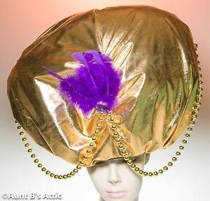 Turban Sultan's Turban Giant Gold Lame' Beaded Feathered Novelty Costume Turban