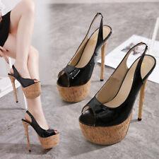 Womens Patent Leather Open Toe High Slim Heels Platform Pumps Slingbacks Sandals