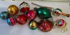 Anciennes décorations de NOËL en verre mercurisé : 11 boules + cimaise