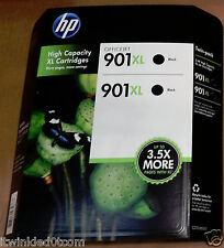 HP 901XL High Yield Ink Cartridge, Black, 2-pack,Model #CC654AN#140, New, Origin