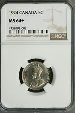 Canada 1924 5 Cents NGC MS64+