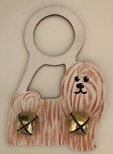 Hand-Painted Shih-Tzu Doorknob Hanger – Tan & White - gently used
