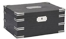 High-Gloss Black Wood Grain Finish~Accented with Silver Corners Cigar Humidor